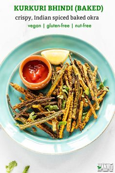 Crispy spiced Kurkuri Bhindi (Okra) makes a great snack or appetizer. These get nicely toasted and crispy in the oven and also make the perfect side to any Indian meal. Vegan and gluten-free. #indian #vegan #okra