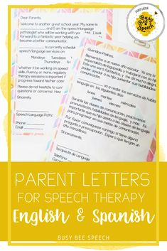 Parent letters for speech therapy in both English and Spanish! They are FULLY EDITABLE and come in both color and black and white.