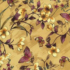 Timeless Treasures House Designer - Sofia - Floral with Birds in Ochre