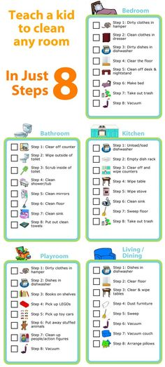 Kids love checking things off lists - make a morning checklist, a grocery list, an after school chore chart, a packing list, you name it! House Cleaning Tips, Cleaning Hacks, Cleaning Room, Room Cleaning Checklist, Chore Checklist, Cleaning Lists, Kids Checklist, Teaching Kids, Kids Learning