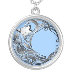 Tribal Wolf - Shaded Round Pendant Necklace
