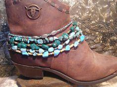 CYBER SALE Set of 5 Turquoise Boot Bracelets egl ooak rococo southwest hippie boho sundance style jewelry rustic lolita style jewelry by LandofBridget