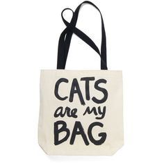 ModCloth Cats Feline Fanatic Tote (125 NOK) ❤ liked on Polyvore featuring bags, handbags, tote bags, totes, bolsas, cats, accessories, cream, initial tote bag and man bag