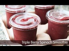 Triple Berry Spinach Smoothies--See how to make this refreshing snack ...