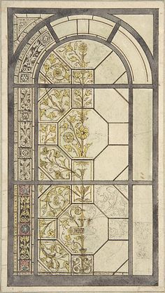 Design for Stained Glass Windows John Gregory Crace (British, London 1809–1889 Dulwich) Date: 19th century Medium: Pen and black and brown ink, with touches of watercolor, over graphite