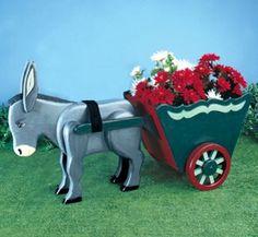 Donkey & Cart Planter Wood Pattern