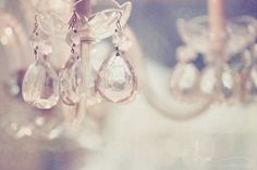 chandelier photograph crystals sparkle warm champagne