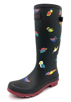 03cd19e56b9 Rongee Ladies Tall Rubber Rain Boots for Women Bird Printed with Adjustable  Gusset and Oxford Bag