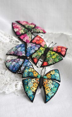 Pink butterfly felt brooch Flower hand embroidery art Colorful butterfly pin Fabric butterfly unusual jewelry Fiber pin Gift idea for her Hand Embroidery Art, Beaded Embroidery, Floral Embroidery, Fabric Butterfly, Butterfly Pin, Etsy Handmade, Handmade Gifts, Felt Brooch, Brooch Pin