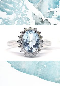 14 carat white gold aquamarine and diamond ring featuring centre oval cut light blue aquamarine - view more stunning engagement rings for something other than a plan diamond Aquamarine Blue, Sapphire, Platinum Metal, Fine Jewelry, Jewellery, Centre, Light Blue, Auction, White Gold