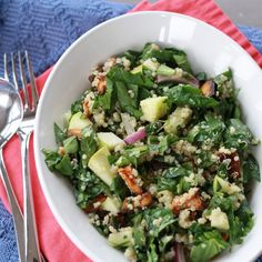 Spinach, quinoa, roasted sweet potatoes, apple salad -- 5+ stars - this was Delicious! I used spinach and mixed greens, added walnuts and feta, also added 1/2 tsp dried oregano and 1/4 tsp basil to dressing