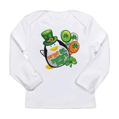 My 1st St. Patty's Day! This cute Irish penguin celebrates your baby's first St. Patrick's Day with heart shaped shamrocks, and the flag of Ireland, green, white, orange balloons.