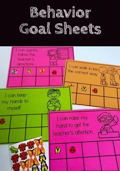 Student behavior goal sheets are a great behavior management resource to track positive behaviors for students needing more support in following classroom rules. Include a simple visual picture as a reminder of the expected behavior and a sticker log of students.
