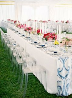 Chair Cover Rentals Victoria Bc High Replacement Chicco 41 Best Ghost Images Wedding Party And White Linens Are A Great Backdrop To This Beautiful Indiglo Print Table Runner Bright Pink Centerpieces