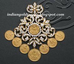 Latest Indian Gold and Diamond Jewellery Designs: Lakshmi Kasu Diamond Pendant