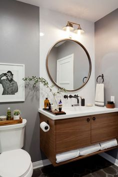 Love The Look Feel Colors Mixed Feelings About Open Storage At Bottom Do You Need A Higher Cei Round Mirror Bathroom Bathroom Inspiration Bathrooms Remodel