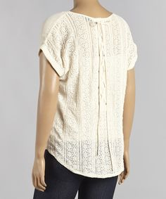 Look at this Mine Too Ivory Lace Cape-Sleeve Top - Plus on #zulily today!