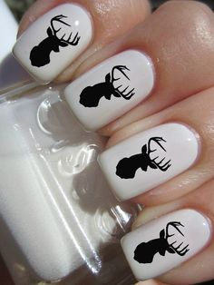 Black+Deer+Head+Nail+Decals+by+PineGalaxy+on+Etsy,+$4.50
