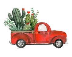Cactus in red truck/cacuts decor/ cactus wall art/ succulent wall decor/ succulent wall art/ vintage red truck decor/ christmas decor - QUILTED INSPIRATION - Succulent Wall Art, Cactus Wall Art, Cactus Decor, Cactus Cactus, Indoor Cactus, Succulent Planters, Succulents Garden, Botanical Decor, Botanical Wall Art