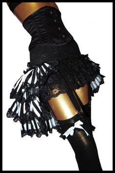 Black & White Burlesque Bustle Skirt