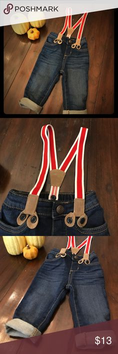 🎃🌟Suspenders Baby skinny jeans🌟🎃 The cutest skinny jeans for your little guy. They have elasticity for more comfort 👍 suspenders come off as shown in last photo. Can cuff, roll or leave as is at the bottoms. These are those jeans your baby needs. Perfect condition Baby bgosh Bottoms Jeans
