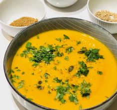 Moroccan roasted vegetable soup - roasted parsnips, butternut squash and carrots, spiced with ras el hanout. Add a dollop of greek yogurt and chopped mint to finish Bbc Good Food Recipes, Soup Recipes, Vegetarian Recipes, Cooking Recipes, Healthy Recipes, Healthy Soups, Fun Cooking, Recipies, Roasted Vegetable Soup