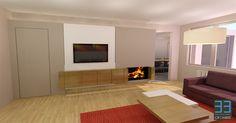 Renovation project for client A. View of the living area. More info at http://www.cr33mers.be Interieur concept voor klant A. Beeld van de woonkamer met tv meubel en inbouw haard. Concept door interieurbureau CR33MERS.
