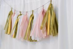 5' Tissue Tassel Garland in pink gold and white by LBEventBoutique