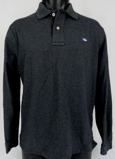 Southern Tide Skipjack Polo Shirt M 38 Mens Dark Heather Gray Long Sleeve Collar #SouthernTide #PoloRugby