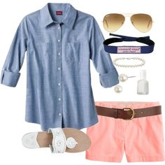 """""""Coral"""" by classically-preppy on Polyvore Pinning this one to remind me to put this look together. I have a different style Chambray shirt and some brighter coral shorts. Would be cute together. Get your own personal stylist @ StitchFix https://stitchfix.com/referral/3503147"""