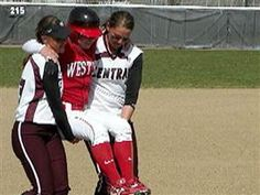 Sportsmanship is still alive...I love this story, it will always be one of my favorites.  The girl being carried was the winning run of a college softball game. She blew out her knee and couldn't walk herself. The girls from Central picked her up and carried her even though it meant losing the game. CLASS.