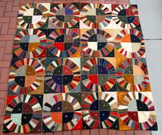 Wisconsin made, folk art crazy quilt. Over the top graphics.