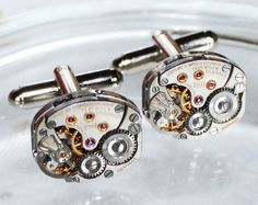 LONGINES Steampunk Cufflinks  Luxury Swiss Silver by TimeInFantasy, $85.00  He would love these