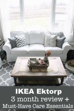 IKEA EKTORP sofa review! If you are on the fence about this affordable furniture, or even on the fence about white the white slipcovers, check out this review! www.whatroseknows.com