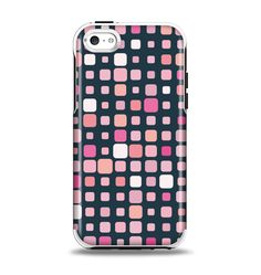 The Scattered Pink Squared-Polka Dots Apple iPhone 5c Otterbox Symmetry Case Skin Set