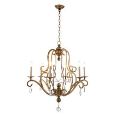 Lend a timeworn touch to your foyer, den, or dining room with this lovely pendant, featuring scrolling details, candle bulbs, and crystal accents.