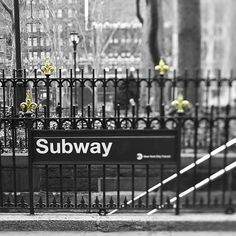 New York City Subway Print black and white NY Wall by Raceytay, $15.00
