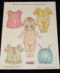 Kewpie Dolls Paper Doll Cut Out Sheet in Loving Remembrance Rose O'Neill