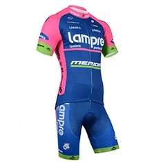 2014 Outdoor Sports Pro Team Men's Short Sleeve Lampre Cycling Jersey and Shorts Set Blue