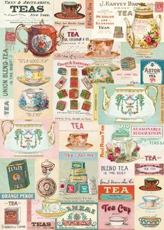 A collection of vintage tea images from the Cavallini archives creates a sweet design. Printed on Cavallini's signature Italian archival paper, this design is great to frame, use as gift wrap, even as a shelf or drawer liner in your kitchen!<br /><br /><i Vintage Diy, Vintage Labels, Vintage Market, Vintage Thee, Red Rose Tea, Vintage Wrapping Paper, Vintage Poster, Paper Source, Tea Art