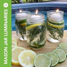 Enjoy summer BBQs without worrying about mosquitoes with these non-toxic repellent jars  #c51stafftips • • •  How to make them: • 4 Mason Jars • 40 drops of each essential oil: Cedarwood, Lavender, Lemon, and Thieves • 2 lemons • 2 limes • 8 sprigs of rosemary • Floating tea light candles  Source: A Little CLAIREification