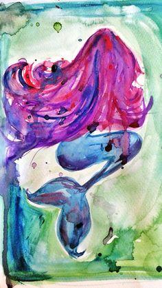 Mermaid watercolor art