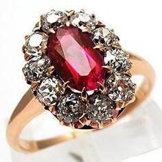 https://www.etsy.com/listing/290498281/diamond-multi-gemstone-flower-broochpin VICTORIAN ERA ANTIQUE NATURAL RUBY & DIAMOND RING SOLID 14K GOLD