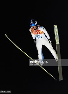 Jakub Janda of Czech Republic takes part in the Men's Large Hill Individual trial on day 8 of the Sochi 2014 Winter Olympics at the RusSki Gorki Ski...