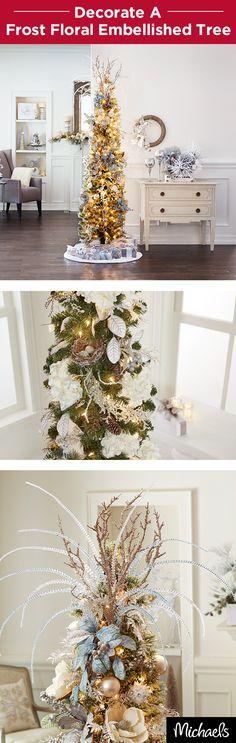 Transform your home into a winter wonderland with a frost decorated Christmas tree. Floral stems, berry garlands and sprays all come together to make this elegant tree come to life. Make a unique tree topper with beaded stems from the floral department. Find everything you need to decorate your tree like this at your local Michaels store.