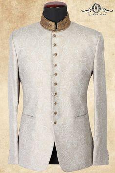 Off White Jute Zari Embroidered Jodhpuri Wedding Dress Men, Wedding Suits, Indian Dresses, Indian Outfits, Reception Suits, Col Mandarin, All Black Suit, Afro Men, Nehru Jackets