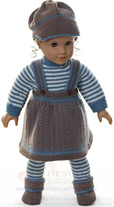 """dolls clothes knitting pattern - Every day's clothes"""" for my doll Knitting Dolls Clothes, Doll Clothes Patterns, Doll Patterns, Clothing Patterns, Crochet Doll Dress, Knitted Dolls, Crochet Hats, Baby Born Kleidung, Costume Marin"""