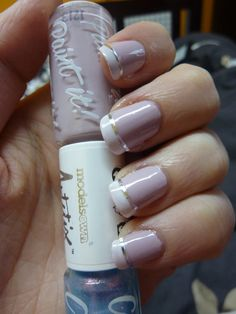French manicure with silver nail striping tape.