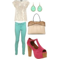 mint jeans with lace tee- nice combo