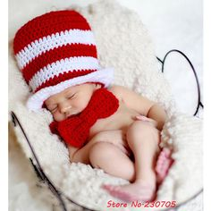 Cat in the Hat Newborn 2 piece Photo Prop Crochet by goldenpenguin Newborn Baby Photos, Newborn Outfits, Baby Boy Newborn, Baby Boy Outfits, Newborn Pictures, New Baby Boys, Baby Girls, Outfits With Hats, Baby Costumes